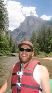 Rafting the day after Half Dome (behind Chas!) Yosemite