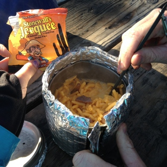 "Mmm mac & cheese with ""jerky"""