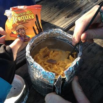"Mmm mac & cheese with ""jerky"""
