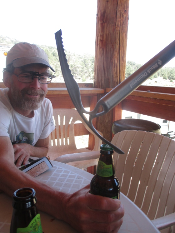 None of us had a bottle opener. I guess an ice axe will do!